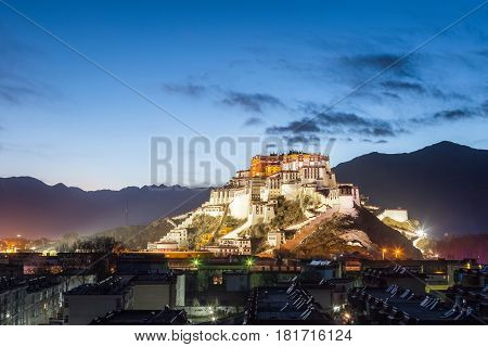 overlook of the potala palace in nightfall beautiful night view on lhasa China