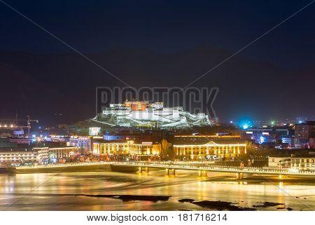 night scene of lhasa city overlook of the potala palace tibet