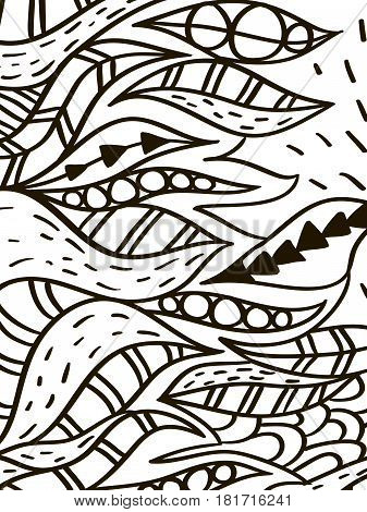 Wave leaves coloring book for adult vector illustration. Zentangle style nature . Black and white lines