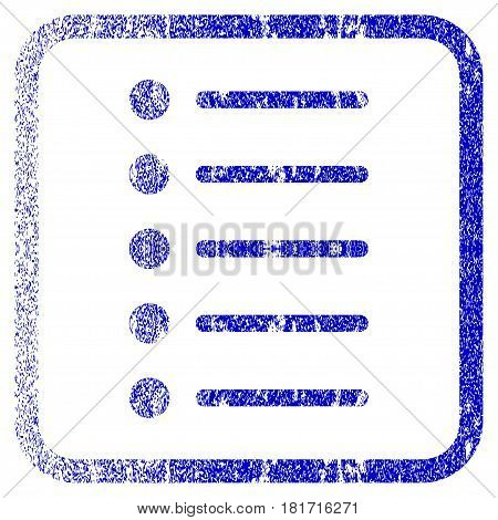 Items textured icon for overlay watermark stamps. Blue vectorized texture. Flat vector symbol with dirty design inside rounded square frame. Framed blue rubber seal stamp imitation.