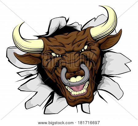 An illustration of a cartoon tough bull character face tearing out of a wall