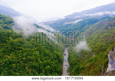 Fog in Canyon of River Tara on rainy September day Montenegro