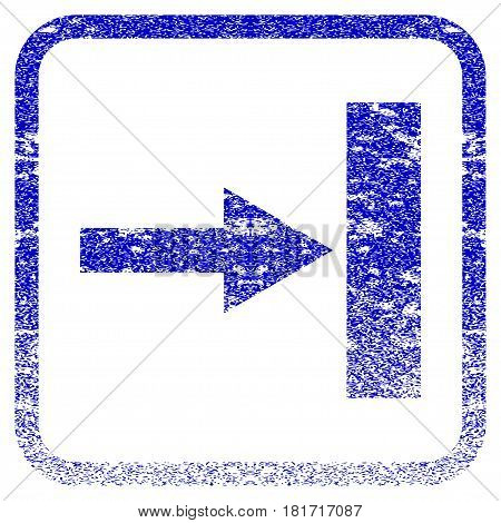 Move Right textured icon for overlay watermark stamps. Blue vectorized texture. Flat vector symbol with scratched design inside rounded square frame. Framed blue rubber seal stamp imitation.
