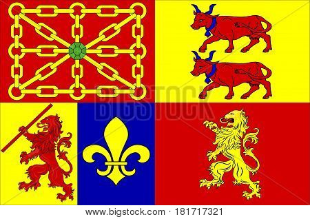 Flag of Pyrenees-Atlantiques is a department in the region of Nouvelle-Aquitaine in southwestern France. Vector illustration