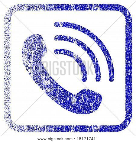 Phone Call textured icon for overlay watermark stamps. Blue vectorized texture. Flat vector symbol with unclean design inside rounded square frame. Framed blue rubber seal stamp imitation.