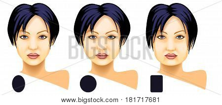 Woman face basic shapes set on a white background
