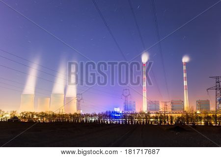 modern thermal power plant at night prolonged exposure