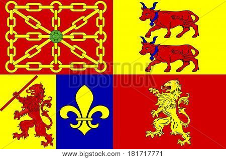 Flag of Pyrenees-Atlantiques is a department in the region of Nouvelle-Aquitaine in southwestern France