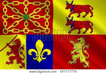 Flag of Pyrenees-Atlantiques is a department in the region of Nouvelle-Aquitaine in southwestern France. 3d illustration