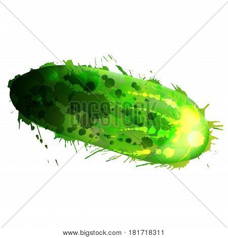 Cucumber made of colorful splashes on white background