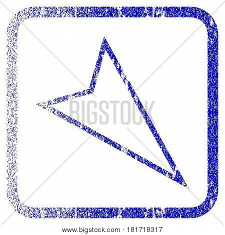 Pointer Right Down textured icon for overlay watermark stamps. Blue vectorized texture. Flat vector symbol with dirty design inside rounded square frame. Framed blue rubber seal stamp imitation.