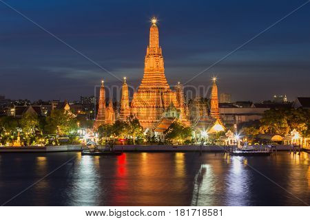Twilight sky background Arun temple river front Bangkok Thailand Landmark