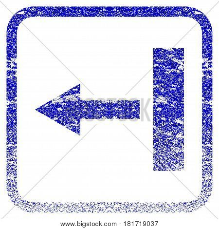 Pull Left textured icon for overlay watermark stamps. Blue vectorized texture. Flat vector symbol with scratched design inside rounded square frame. Framed blue rubber seal stamp imitation.