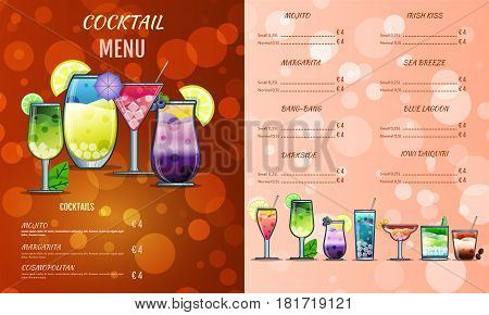 Cocktail Menu Design Template.cocktail List Cover Illustration. Vector Graphic. Drinks Menu.