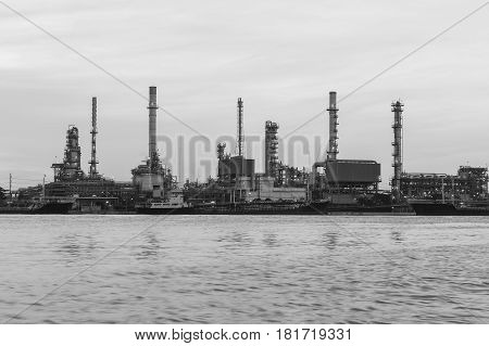 Black and White Petroleum power plant river front