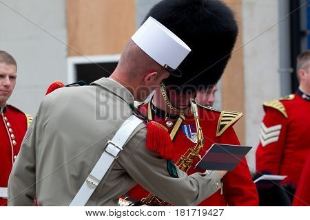 France, Paris - 14 july 2011. The Legionnaire of the French Foreign Legion and the Guardian of the Coldstream Guards of Great Britain on the parade on July 14 in Paris