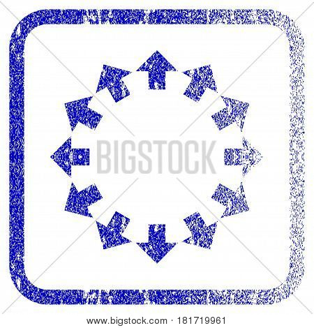 Radial Arrows textured icon for overlay watermark stamps. Blue vectorized texture. Flat vector symbol with dust design inside rounded square frame. Framed blue rubber seal stamp imitation.