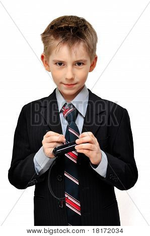 Boy In Suit Wrote An  Mesage