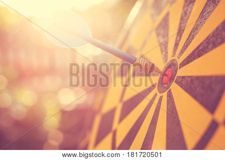 Blue Dart Arrow In The Center Of Dartboard. Blur And Bokeh In Sunrise Time Background. Warm Vintage