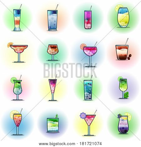 Set Of Cocktails On A Color Background