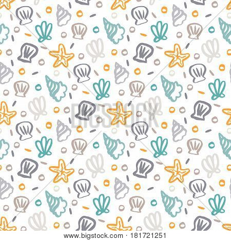 Seamless pattern with seashells starfish and pearls in marine style on a white background.
