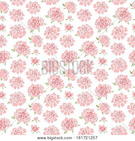 Seamless pattern with pink cute peonies in gentle tones