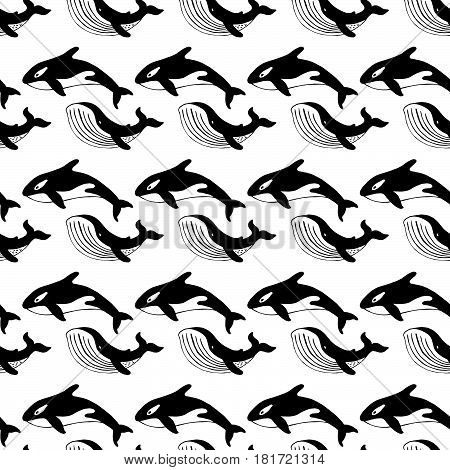 Whale and killer whale hand-drawn ink. Black and white seamless pattern in marine style.