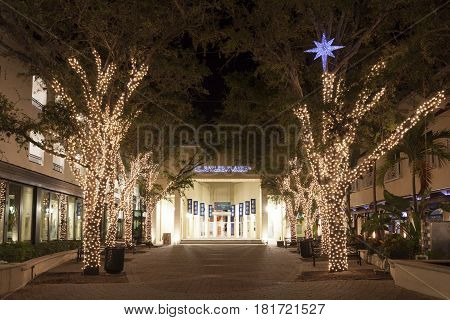 Naples Fl USA - March 21 2017: The Naples Players Sugden Community Theatre illuminated at night. Florida United States