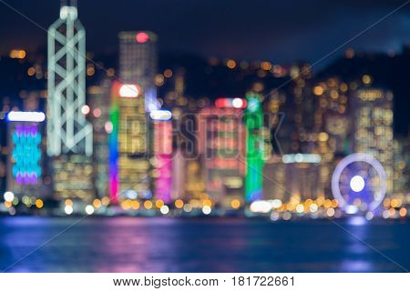 Twilight blurred bokeh Hong Kong city sea front abstract background