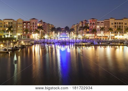View over the city of Naples illuminated at night. Florida United States