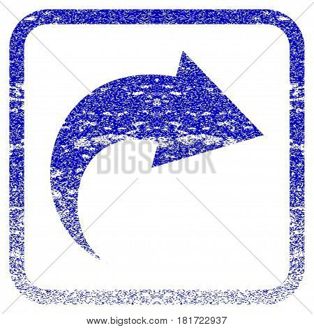 Redo textured icon for overlay watermark stamps. Blue vectorized texture. Flat vector symbol with unclean design inside rounded square frame. Framed blue rubber seal stamp imitation.