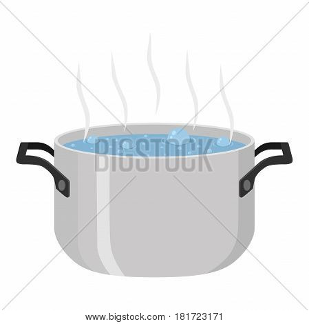 Boiled soup in pot. Hot meal with vegetables, meat. Cartoon flat style.