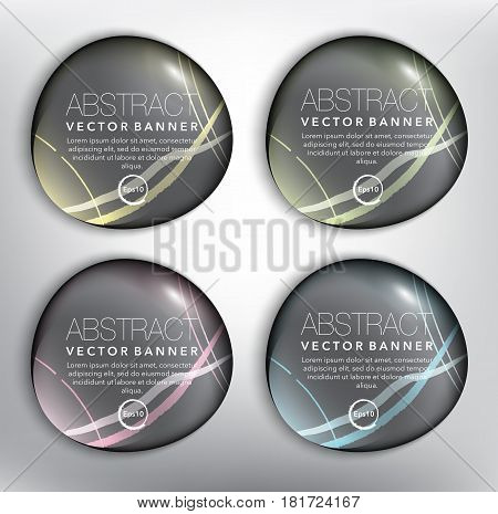 Abstract vector banners set of 4. Pebbles. Isolated with realistic shine and shadow on the white panel. Vector illustration. Eps10.