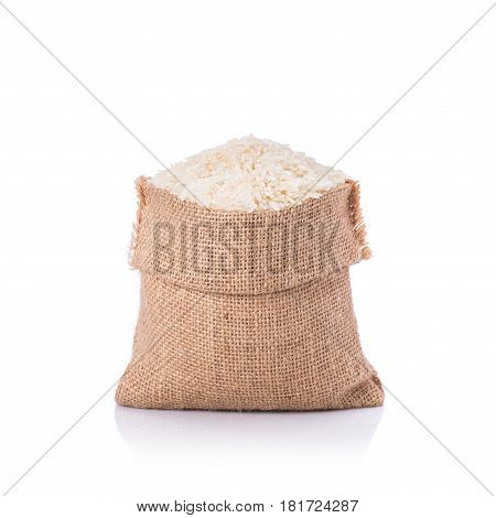 Thai Jasmine Rice In Small Sack. Studio Shot Isolated On White Background