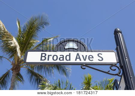 The Broad Avenue South sign in the city of Naples. Florida United States