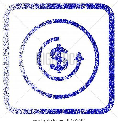 Refund textured icon for overlay watermark stamps. Blue vectorized texture. Flat vector symbol with unclean design inside rounded square frame. Framed blue rubber seal stamp imitation.