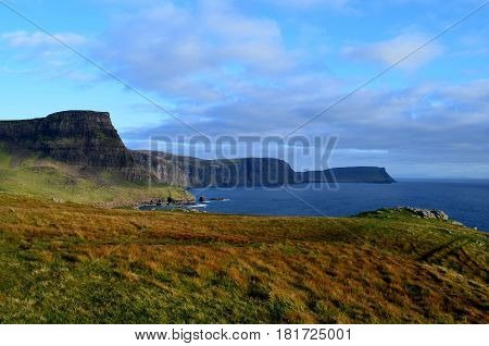Neist Point's beautiful landscape on the Isle of Skye in Scotland.