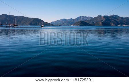 Calm ocean of marmaris in Marmaris, Turkey