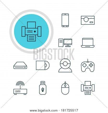 Vector Illustration Of 12 Technology Icons. Editable Pack Of Video Chat, Cursor Controller, Memory Storage And Other Elements.