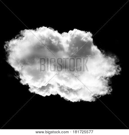 Single cloud shape illustration 3D rendering realistic cloud or smoke illustration