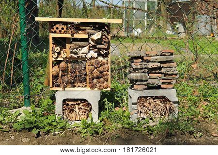 insect hotel for small invertebrates in the garden