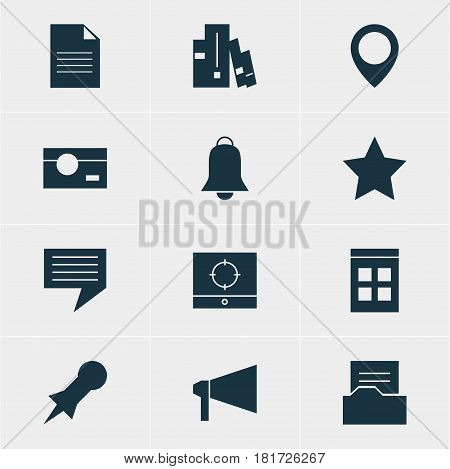 Vector Illustration Of 12 Internet Icons. Editable Pack Of Document Directory, Document, Notification And Other Elements.