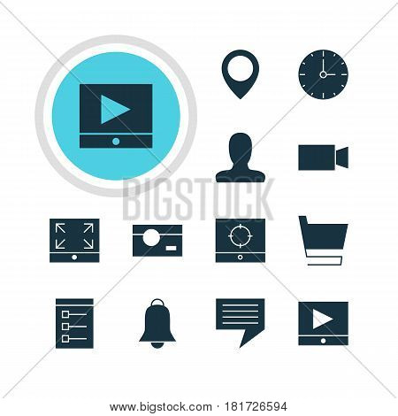 Vector Illustration Of 12 Web Icons. Editable Pack Of Target Scope, Notification, Capture And Other Elements.