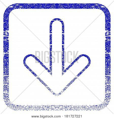 Rounded Arrow Down textured icon for overlay watermark stamps. Blue vectorized texture. Flat vector symbol with scratched design inside rounded square frame. Framed blue rubber seal stamp imitation.