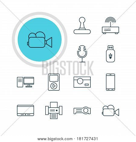 Vector Illustration Of 12 Gadget Icons. Editable Pack Of Photocopier, Media Controller, Floodlight And Other Elements.