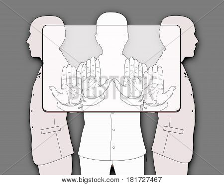 Three silhouettes of men holding a provisional rectangle according to the proportions corresponding to the bank plastic card. Linear drawing on a grey background