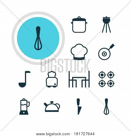 Vector Illustration Of 12 Cooking Icons. Editable Pack Of Soup Pan, Bread, Barbecue And Other Elements.