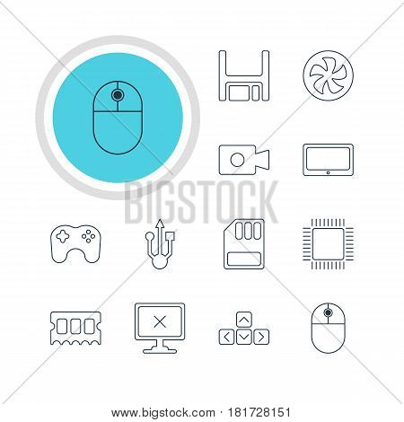 Vector Illustration Of 12 Computer Icons. Editable Pack Of Cursor Manipulator, Usb Icon, Diskette And Other Elements.