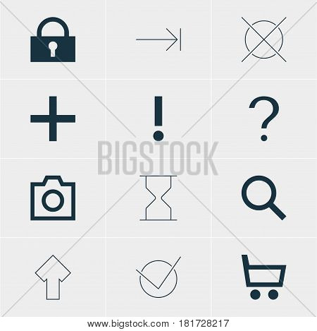 Vector Illustration Of 12 User Icons. Editable Pack Of Wheelbarrow, Seek, Hourglass And Other Elements.