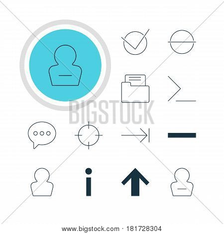 Vector Illustration Of 12 Member Icons. Editable Pack Of Avatar, Startup, Minus And Other Elements.
